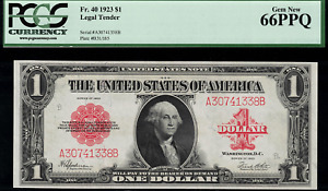 1923 $1 Legal Tender FR-40 - Red Seal - Graded PCGS 66PPQ - Gem New Uncirculated