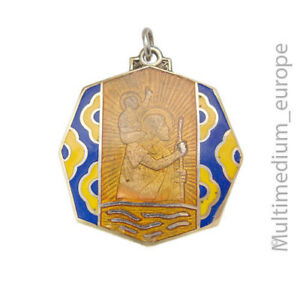 Art Deco Hl St Christopherus Anhänger Emaille Schutz enamel pendant 🌺🌺🌺🌺🌺