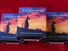 AUSTRALIA.  2010 $1 Kangaroo at Sunset - 1/5oz Silver Proof x 3 Coins.. Cased