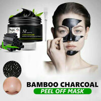 Bamboo Charcoal Facial Peel Off Blackhead Clean Black Mask Mud Remover + Brush