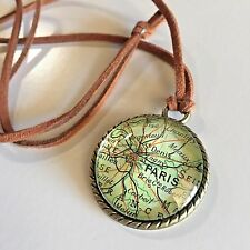 PARIS FRANCE ST DENIS Map Pendant bronze Leather necklace vntg ATLAS f04