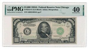 UNITED STATES banknote $1000 1934A Chicago Fr#2212-G PMG XF 40 Extremely Fine