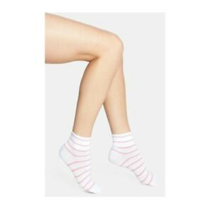 HUE Womens Jeans' Socks (3 pair)  White With Pink Strips One Size          10760