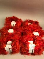 Lot of 6 Skeins Whisper Crystal Palace Yarn Orange Microfiber Eyelash 50g 97y