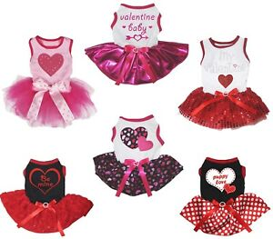 Valentine Pink Red Cotton Top Dots Bling Love Heart Tutu Pet Dog Puppy Cat Dress