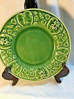 "Bordallo Pinheiro Sald Dessert Plate Frog On Lillypad Dragonfly Green 8.25"""