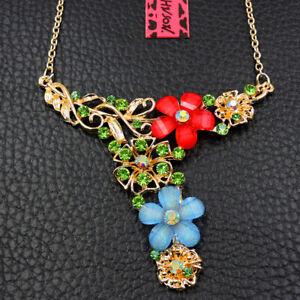 Fashion Betsey Johnson Green Rhinestone Flower Pendant Sweater Necklace
