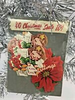 Vintage Christmas Package Gummed Seals Stickers Angel Poinsettia 40 Antique