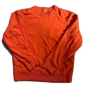Mens Ralph Lauren Polo Crewneck Sweatshirt Size Medium Orange Thermal Lined