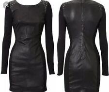 KAREN MILLEN RARE SOFT BLACK NAPPA LEATHER & JERSEY STUD SHOULDER DRESS UK 10