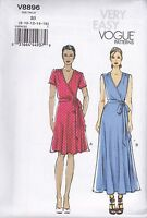 Vogue Very Easy Sewing Pattern Wrap Dress Close Fitting Bias Bodice 8 - 24 V8896