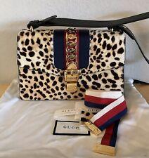 Gucci Leopard Sylvie Handbag Chain Red White Blue Web Strap Shoulder 2 Way Bag