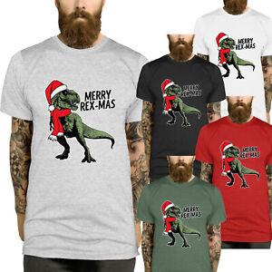 T-Rex Christmas T-Shirt Merry Rex-Mas Xmas Men Ladies Kids Funny Dinosaur L359