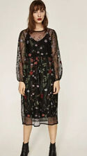 Women's Zara Mesh Net Maxi Dress M UK 8- 10-12 Black W Embroidery Flowers