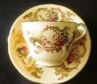 Aynsley - TEA CUP AND SAUCER - GOLD TONE - PERFECT CONDITION!