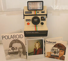 Polaroid SX-70 Rainbow OneStep 1000 SE Instant Camera +Q-Light & Manuals RARE