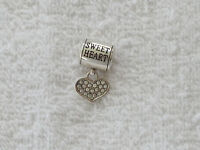 "BRIGHTON ""STORIES OF LOVE"" SILVER PLATED/CLEAR CRYSTALS DANGLE CHARM NWOT"