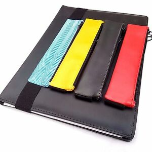 Bookmark Pencil Case Elasticated Zip Pocket Pouch Book Notebook Pen Holder Band