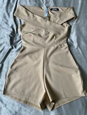 Ladies Playsuit - Bardot - Misguided- Camel - Size 6