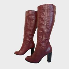 NEW LOOK Ladies Womens Boots Size UK 6 Eu 39 Burgundy Heels Knee Boots