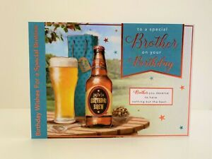 Words n Wishes Special Brother Birthday Card Traditional Beer Bottles/A063