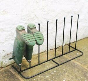 REFURBISHED - Steel Black Boot Rack 4 Pairs Welly Holder Stand Storage