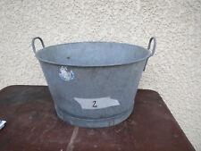 Ancienne bassine lessiveuse zinc vintage déco jardin pot  fleur galva brocante 2