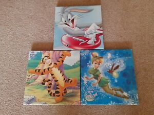 Three Disney Fabric Pictures 25cm x 25cm