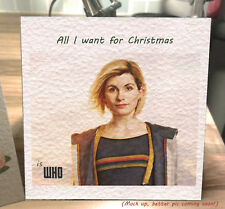 Handmade Doctor Who Christmas Card 13th Doctor Jodie Whittaker. Can personalise.