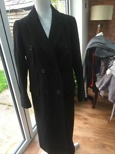 Marks And Spensers Black Double Breasted Size 10 Lined Used Condition Coat