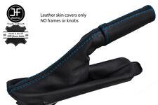 Puntada de cuero de grano superior De Freno De Mano Azul + manejar cubre se ajusta Ford Mustang 15-17