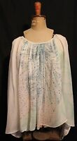 CAMILLA ~ Genuine White Silk Blousson Blouse w Pastel Coral Print Rhinestones L