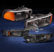 2001-2006 GMC YUKON SIERRA DENALI CRYSTAL HEAD LIGHT W/BUMPER SIGNAL BLACK/AMBER