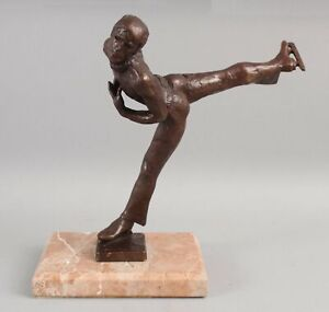 Original STERETT-GITTINGS KELSEY Modernist Bronze Sculpture, Figure Skating Man
