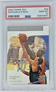2002-03 Topps Ten Blocks Leader Shaquille O'Neal #50 LA Lakers PSA 10 GEM MINT