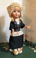 Vtg Rozetta Netherlands Dutch Girl Intl Souvenir Doll Wood Shoes