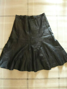 """ladies VINTAGE 1980s 100% REAL SOFT BLACK LEATHER LONG SKIRT SIZE 34"""" WAIST"""