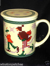DEPARTMENT DEPT 56 NEEDLEPOINT PATTERN LIDDED MUG ICE SKATERS SNOWFLAKES WINTER