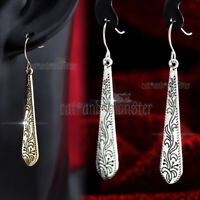 Women Vintage Floral Filigree Gold / Silver Plated Long Bar Drop Dangle Earrings