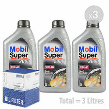 Engine Oil and Filter Service Kit 3 LITRES Mobil Super 2000 X1 10w-40 3L