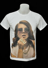 White crew t-shirt lana del rey Glasses punk rock cotton CL tee size M