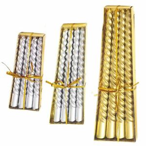 Metallic Slim Twisted Taper Candles - Church Pillar 3 SIZE AVAILABLE GOLD SILVER