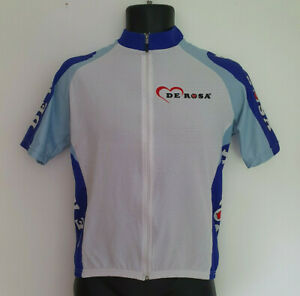 De Rosa Cycle Jersey Size Medium Unisex Full Zip Cycling Shirt Blue White