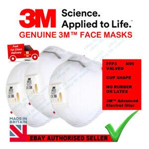 3x 3M Mask 8833 Respirator Valved FFP3 Face Mask Cup Shape MASK APF20 N99