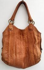 Vintage 70s Style Large Tan Leather Pleated Shopper Shoulder Hand Bag