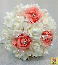 Artificial Flower White/Apricot Diamante Foam Roses Bridal Wedding Bouquet.