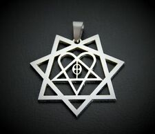 MIP- HIM HEARTAGRAM Polished Stainless Steel pendant w/30 inch ball chain