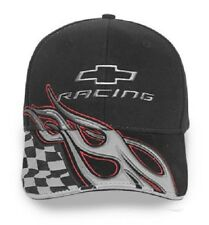 30d97f18240f1 Chevrolet Racing Flames Checkered Flag Baseball Hat Ball Cap Black w  Silver