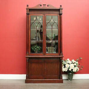 Antique English Mahogany Bookcase, 2 Section Bookcase with Cabinet Below