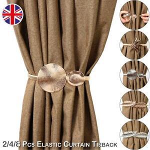 Window Curtain Rope Metal Tie Backs Elastic Tiebacks Living Room Leaf Ornament